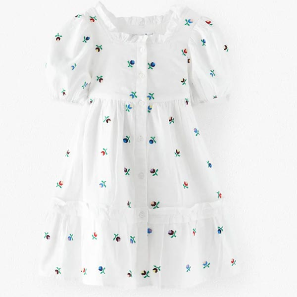 Vestido con bordados de niña de Zara Kids