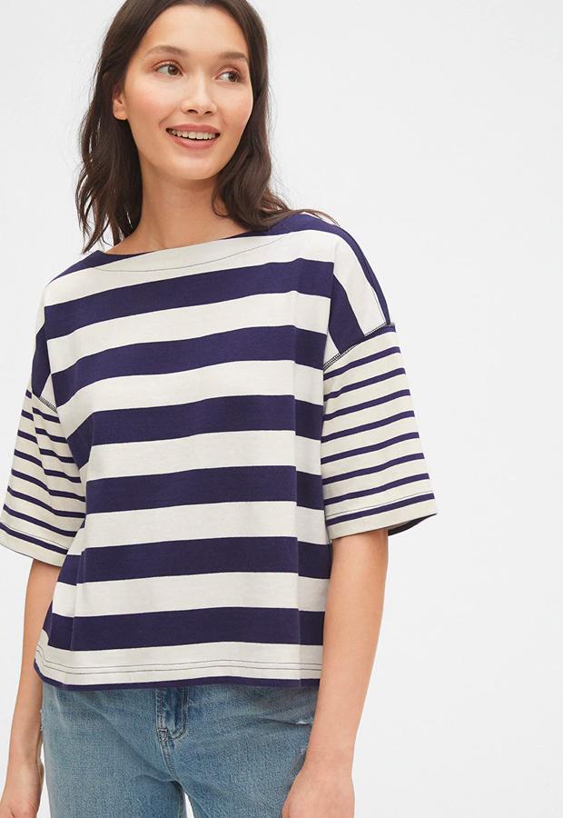 rayas marineras Camiseta con cuello barco GAP