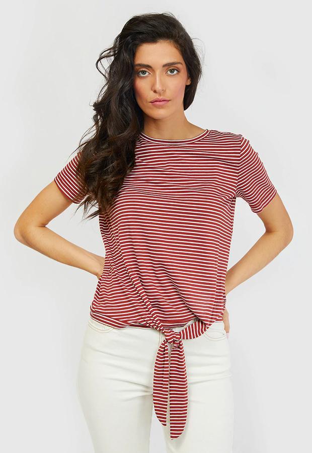 rayas marineras Camiseta con detalle de nudo Object