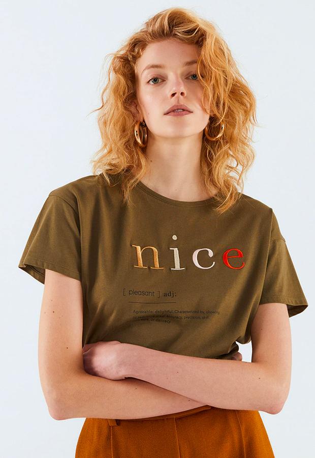 camisetas basicas Camiseta de mujer texto bordado Sfera