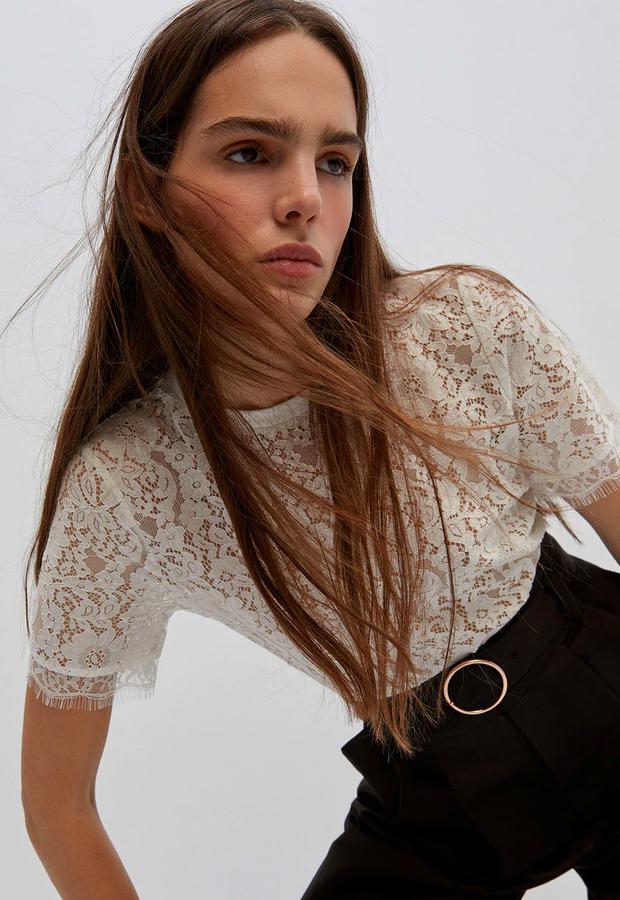 prendas con transparencias Camiseta de mujer de encaje de Sfera