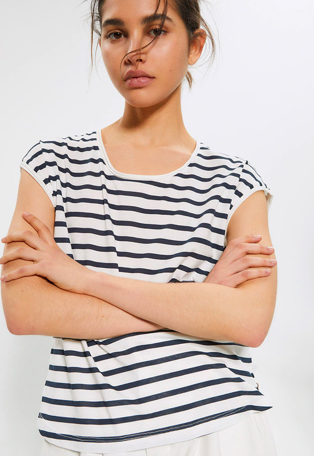 rayas marineras Camiseta con cuello caja Sfera