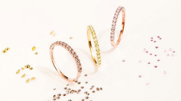 Anillos de compromiso de Suarez con diamantes Fancy
