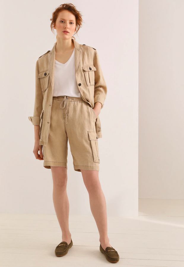 shorts verano 2020 Bermuda lisa 100% lino de LLOYD'S