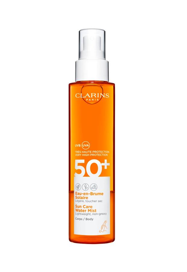 bronceado perfecto Bruma Protector Solar Suncare Body Water SPF50+ de Clarins