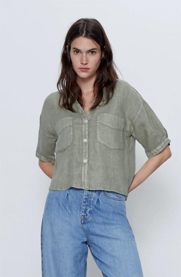 Camisa de Zara de lino verde