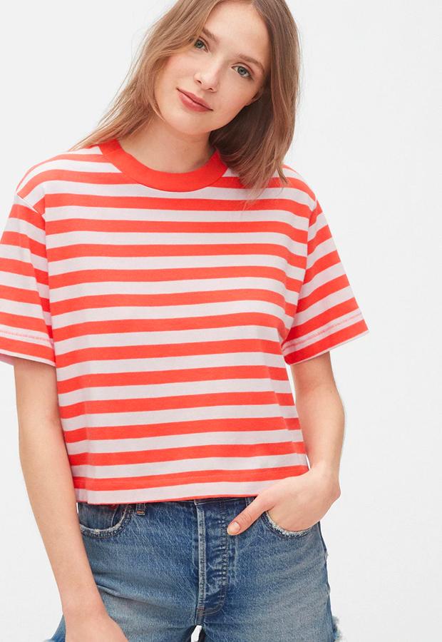 rayas marineras Camiseta crop de rayas GAP