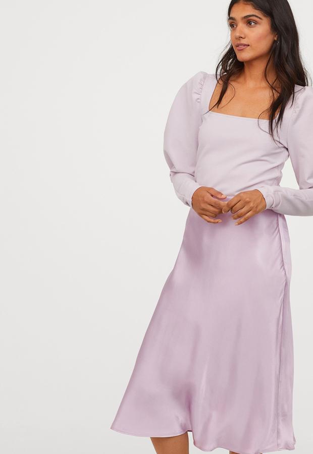 prendas satinadas Falda midi de satén de H&M