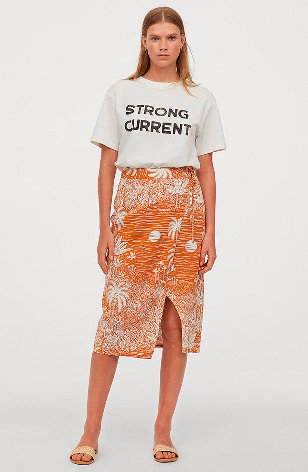 Falda estampada de H&M de lino