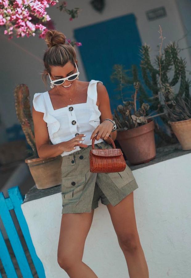 short y top con botones Looks de Bartabac verano