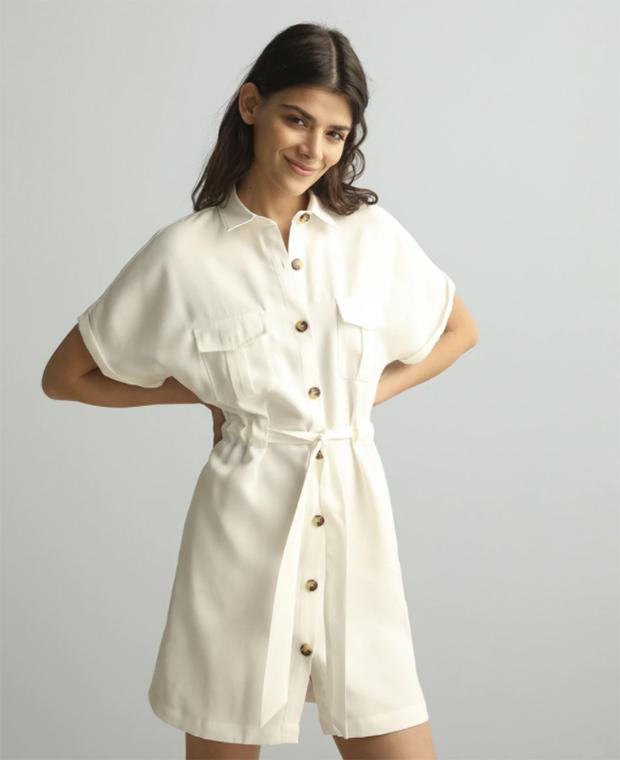Prendas blancas: Vestido camisero con lazada
