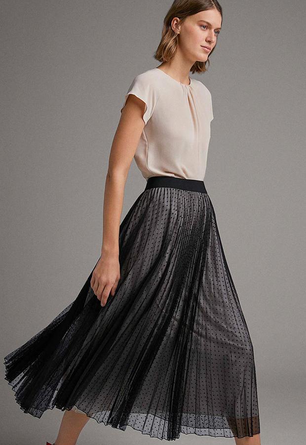prendas con transparencias Falda larga plisada tul con topos de Roberto Verino