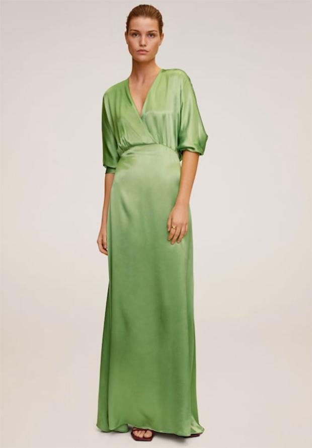 Vestido verde satinado