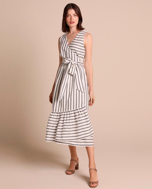 Vestido playero de lino y estampado de rayas