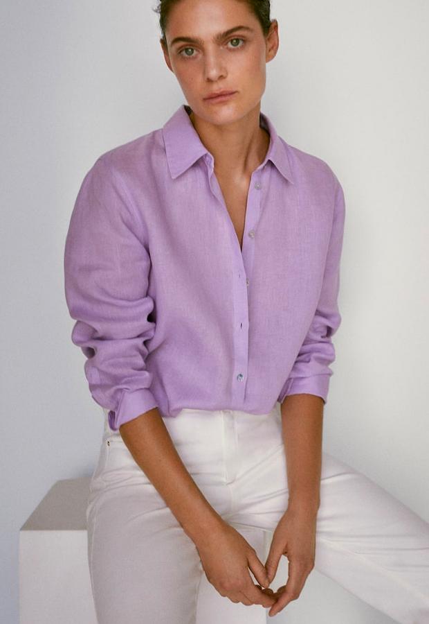 predas lila Camisa 100% lino de Massimo Dutti