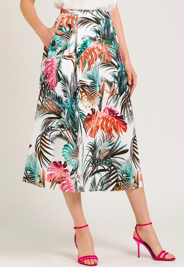 estampado tropical Falda midi con estampado tropical NAF NAF