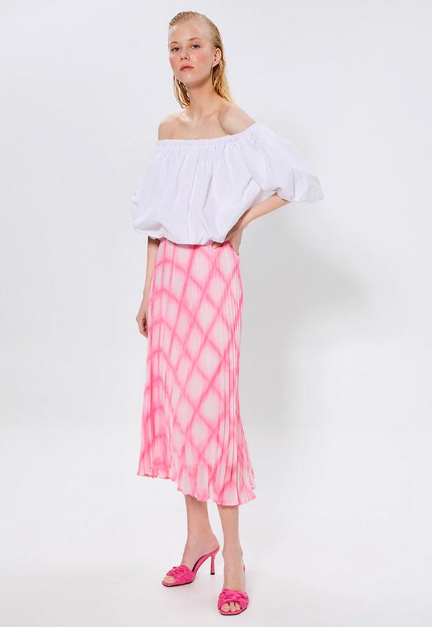 rosa es tendencia Falda plisada cuadros de Sfera