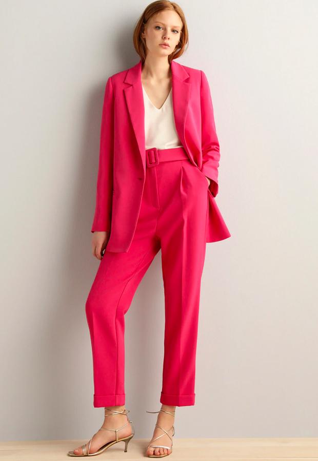rosa es tendencia Blazer con solapa y manga larga de Fórmula Joven