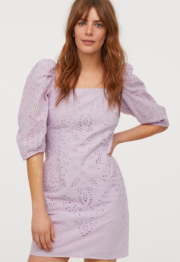 predas lila Vestido con bordado inglés de H&M