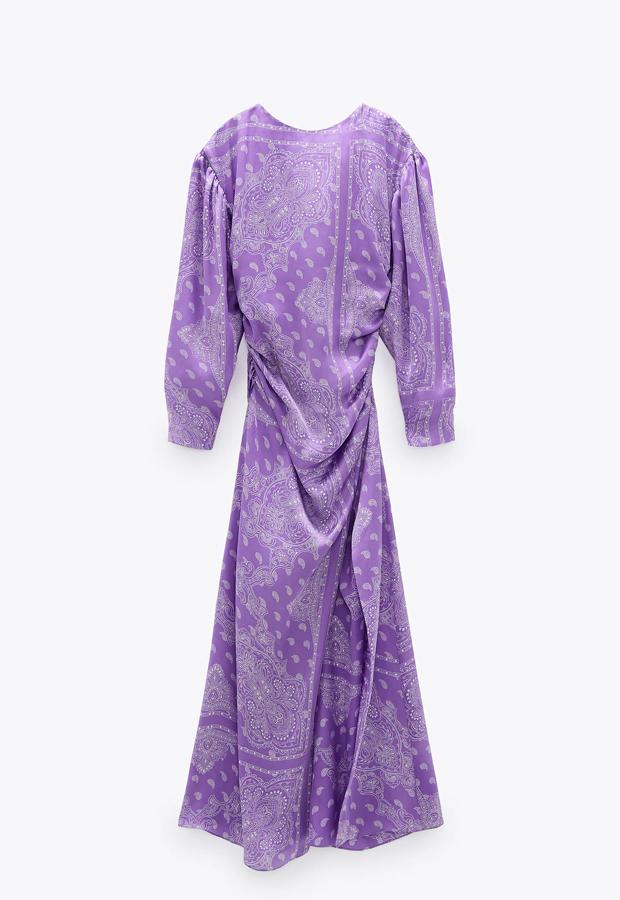 predas lila Vestido midi estampado de Zara