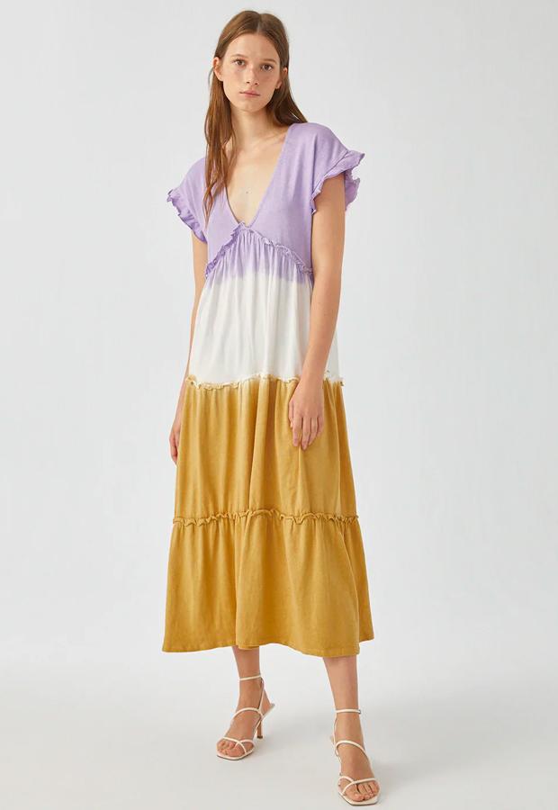 novedades Pull and Bear 2020 Vestido midi tie-dye