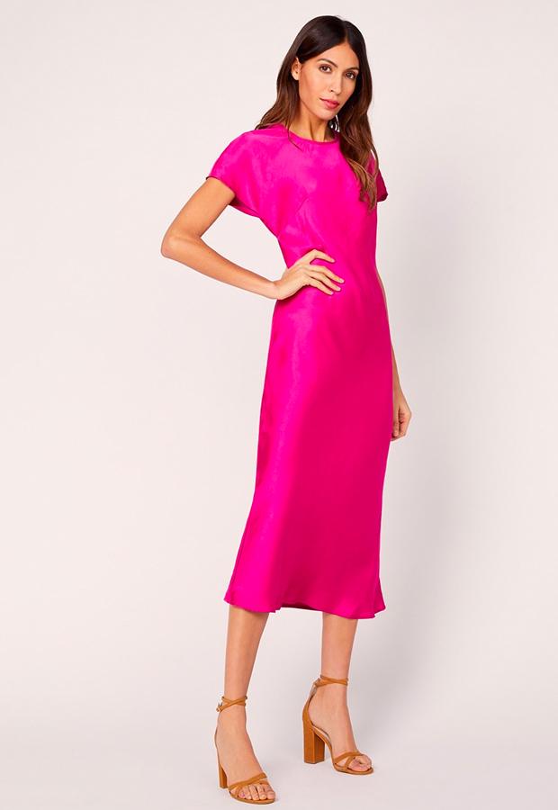 rosa es tendencia Vestido con tejido satinado Kookai