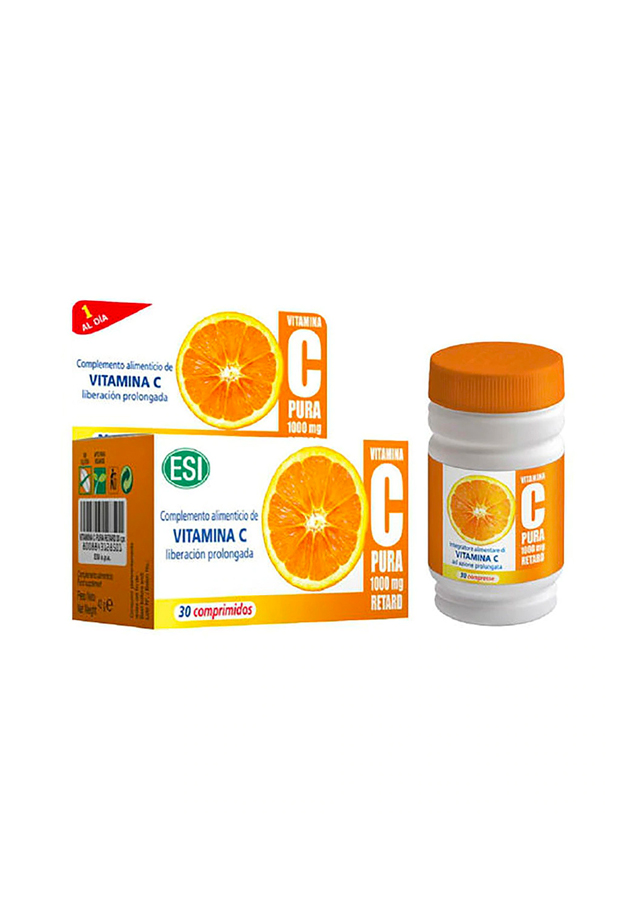 alargar el bronceado 30 Comprimidos Vitamina C Pura 1000 mg Retard ESI