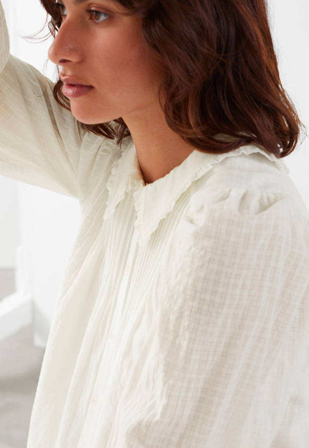 Other Stories Button Up Ruffle Collar Top