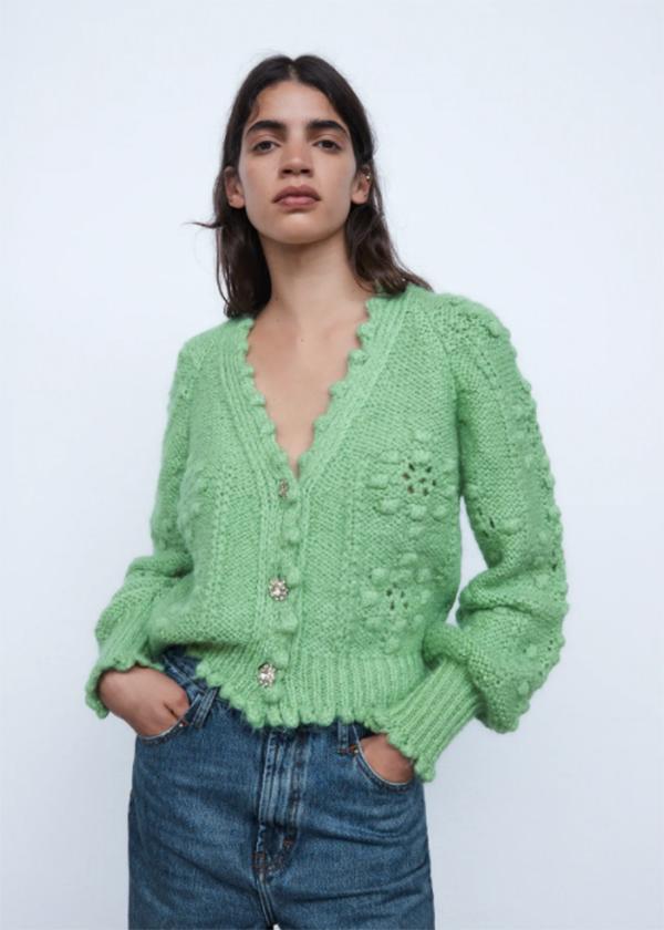 Chaqueta de punto en color verde de Zara