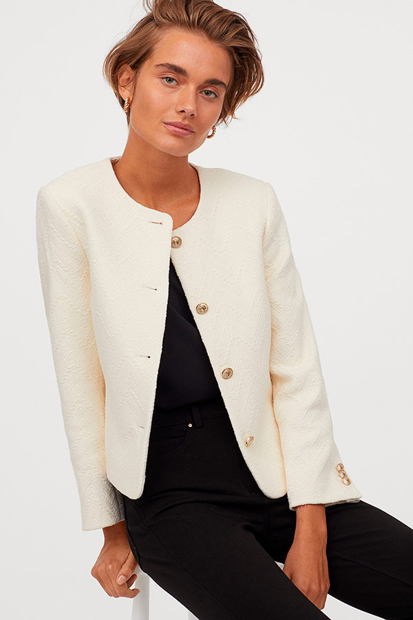Chaqueta de entretiempo blanca de H&M