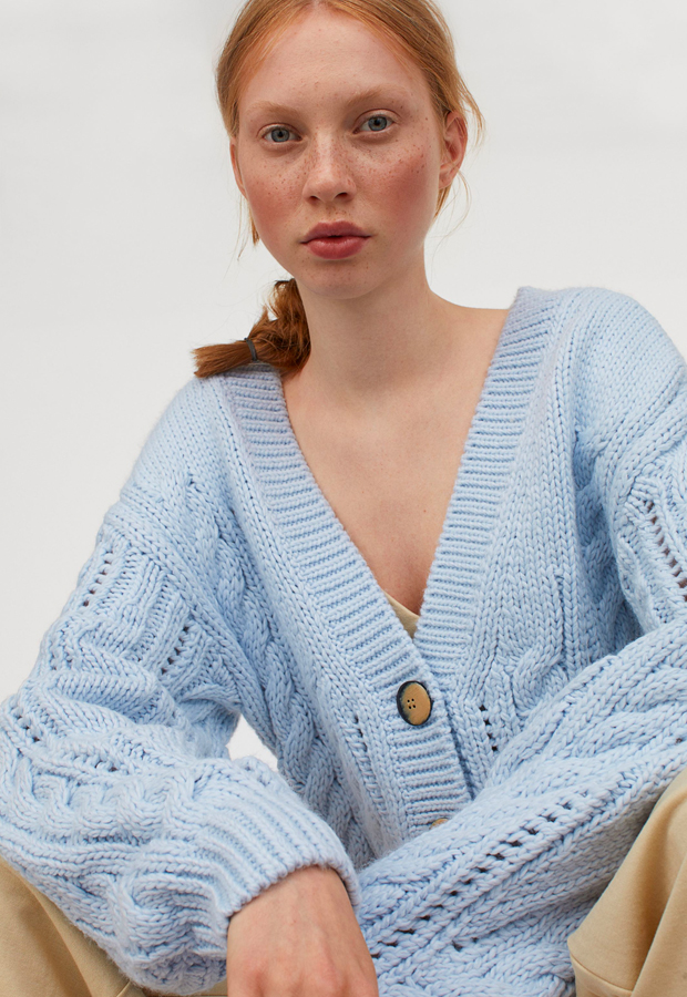chaquetas de punto Cárdigan en punto trenzado de H&M