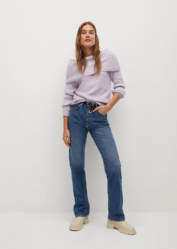 Jersey de Mango lila con cuello barco
