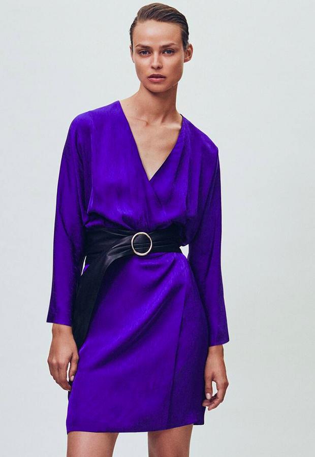 novedades Massimo Dutti Vestido kimono jacquard cuello pico