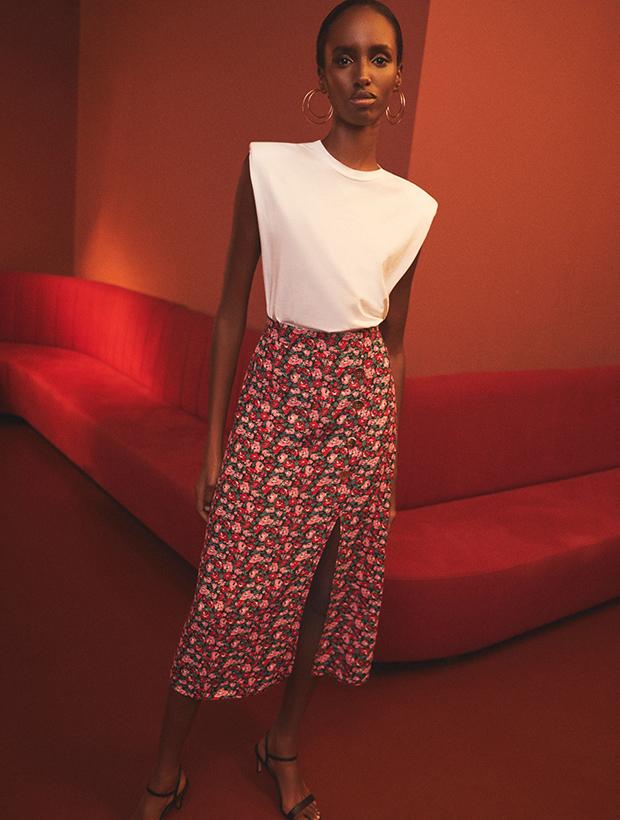 Falda midi de flores de Lefties otoño 2020