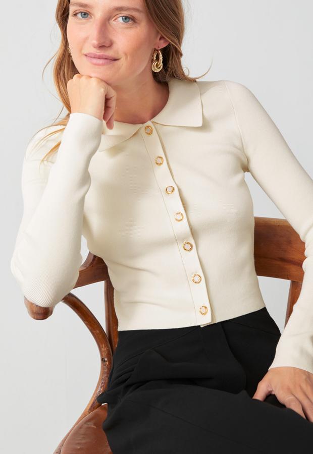 Jersey con cuello de polo y botones