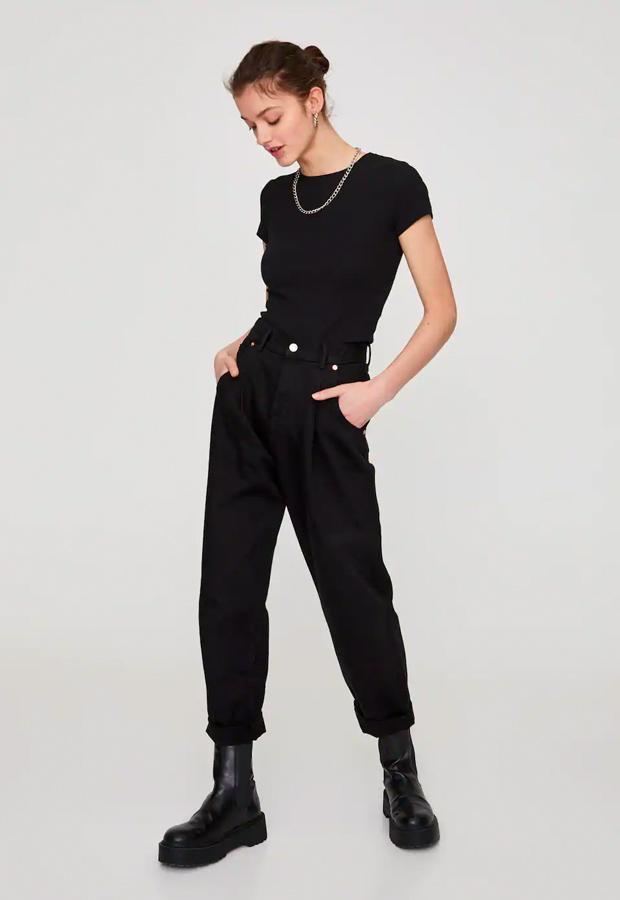 rebajas de entretiempo Pull Bear Jeans slouchy básicos color negro