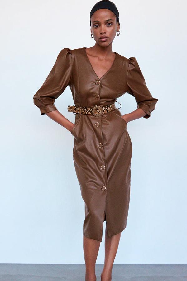 Vestido de Zara efecto piel marrón