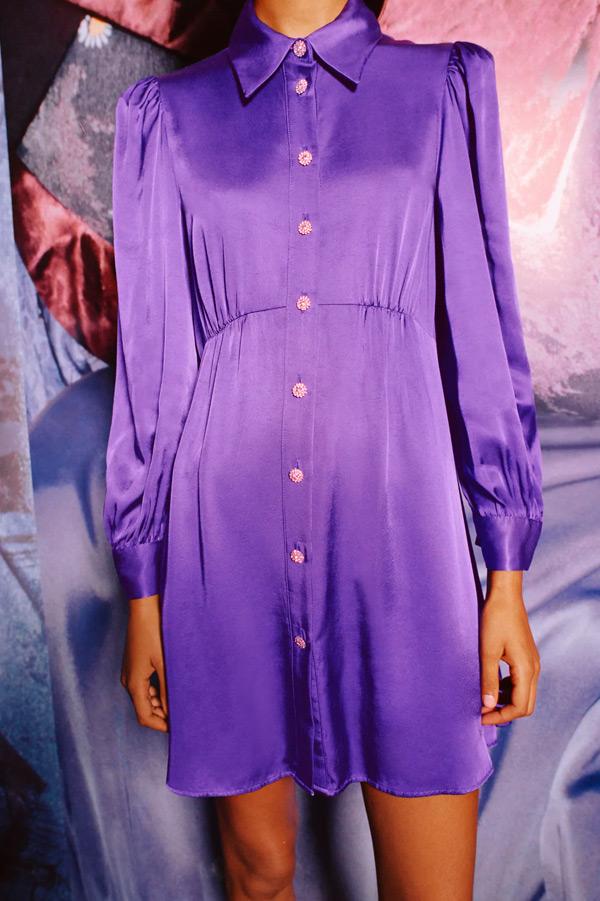 Vestido de Zara camisero satinado