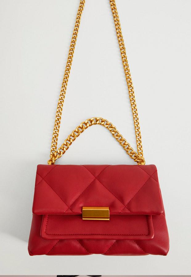Bolso acolchado rojo de Mango