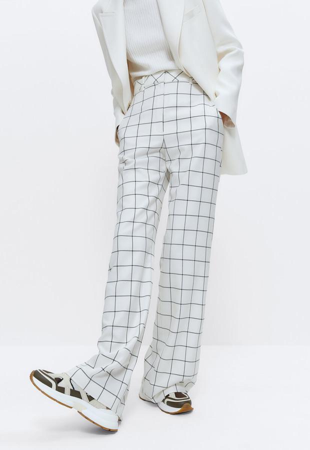 Pantalón ancho de cuadros ventana de Uterqüe