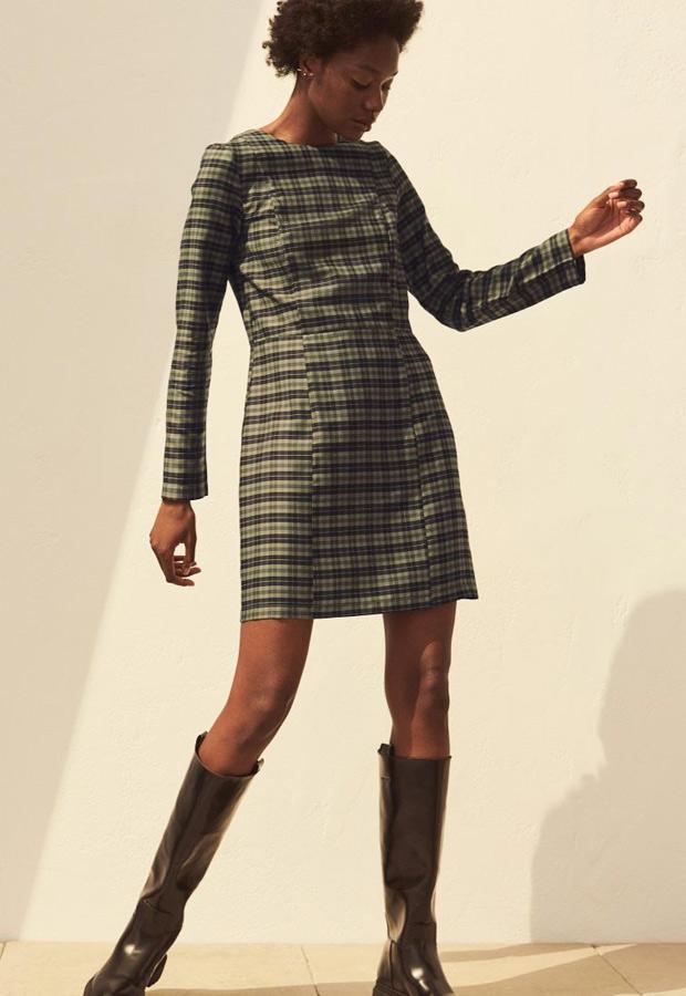 Vestido de cuadros verdes de H&M