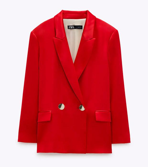 Blazer de Zara satinada roja