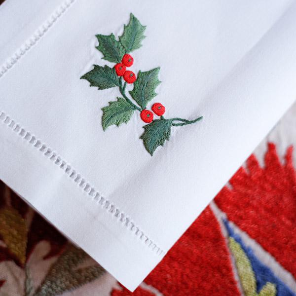 Servilletas bordadas para mesa de navidad