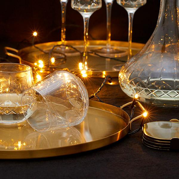 Vasos tallados para mesa de navidad