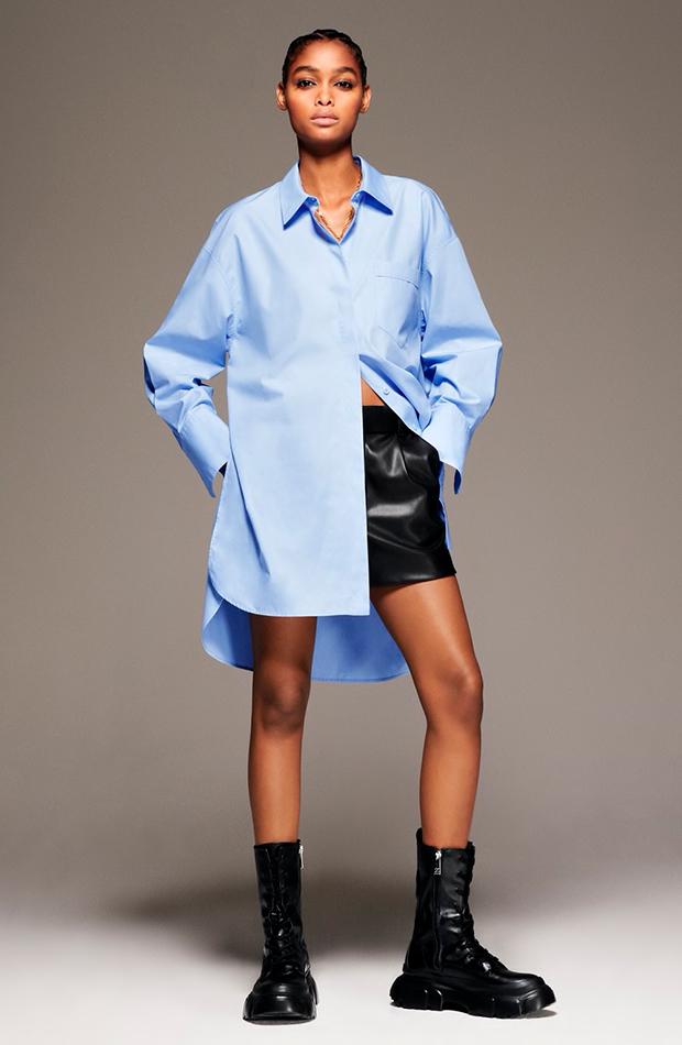prendas oversize camisa azul de zara