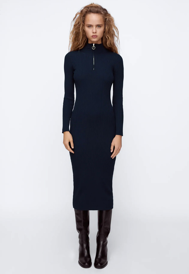 Vestido de punto azul de Zara