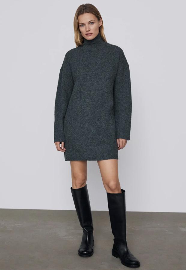 Vestido de punto gris de Zara