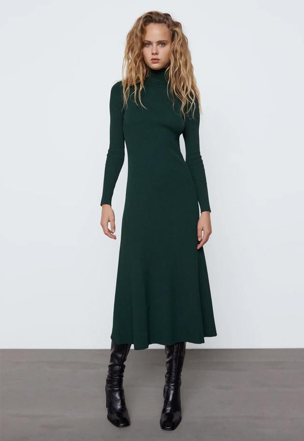 Vestido de punto verde de Zara