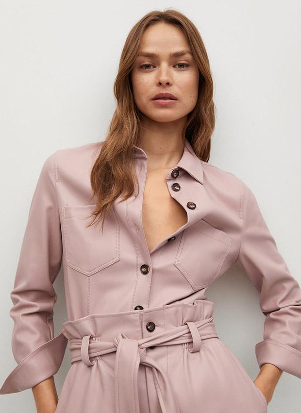 Camisa rosa de efecto piel de Mango