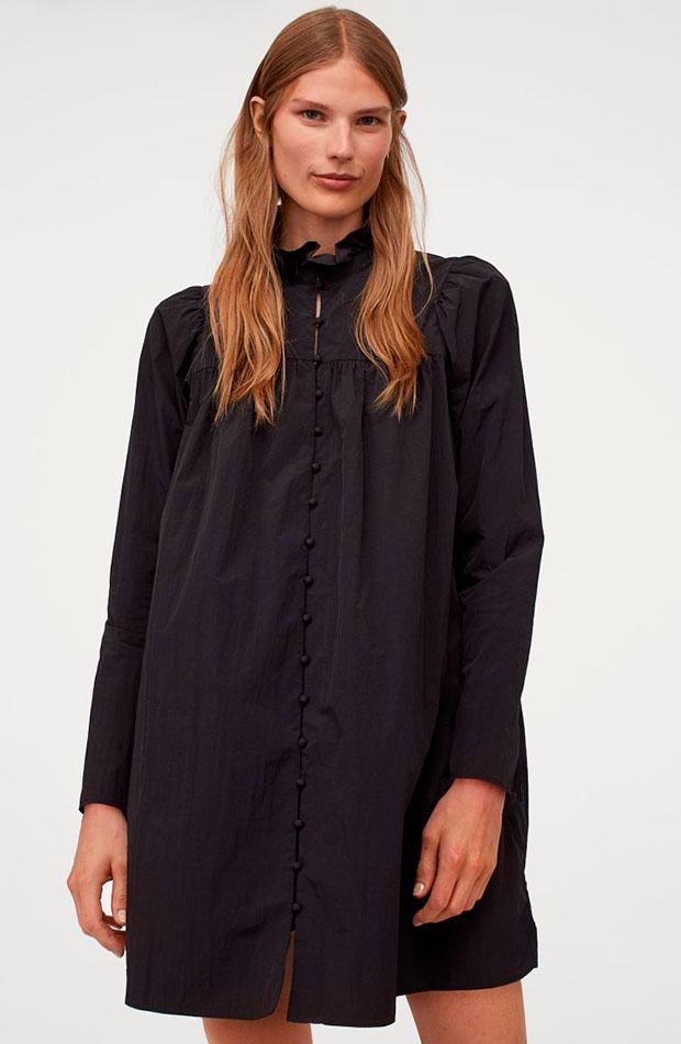 mangas abullonadas Vestido negro de H&M